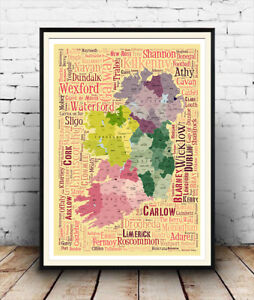 Ireland-map-Words-related-to-places-in-Ireland-artwork-Poster-Wall-Art