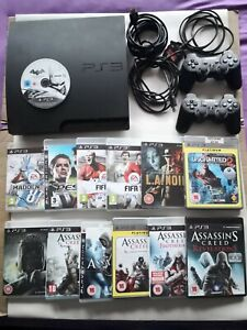 Sony PlayStation 3 Slim Console 160GB Black,2 controllers, 13 games Free P&p UK