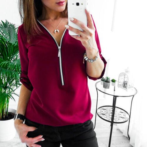Damen Chiffon Bluse V-Ausschnitt Top Oberteile Baggy Langarm T Shirt Zipper Hemd