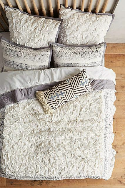 Anthropologie TRADE ROUTE Pillow Shams KING Set 2 Quilted Cotton grigio bianca NWT