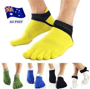 Men-039-s-Five-Finger-Toe-Separate-Socks-Cotton-Grid-Breathable-Yoga-Sport-Socks-BO