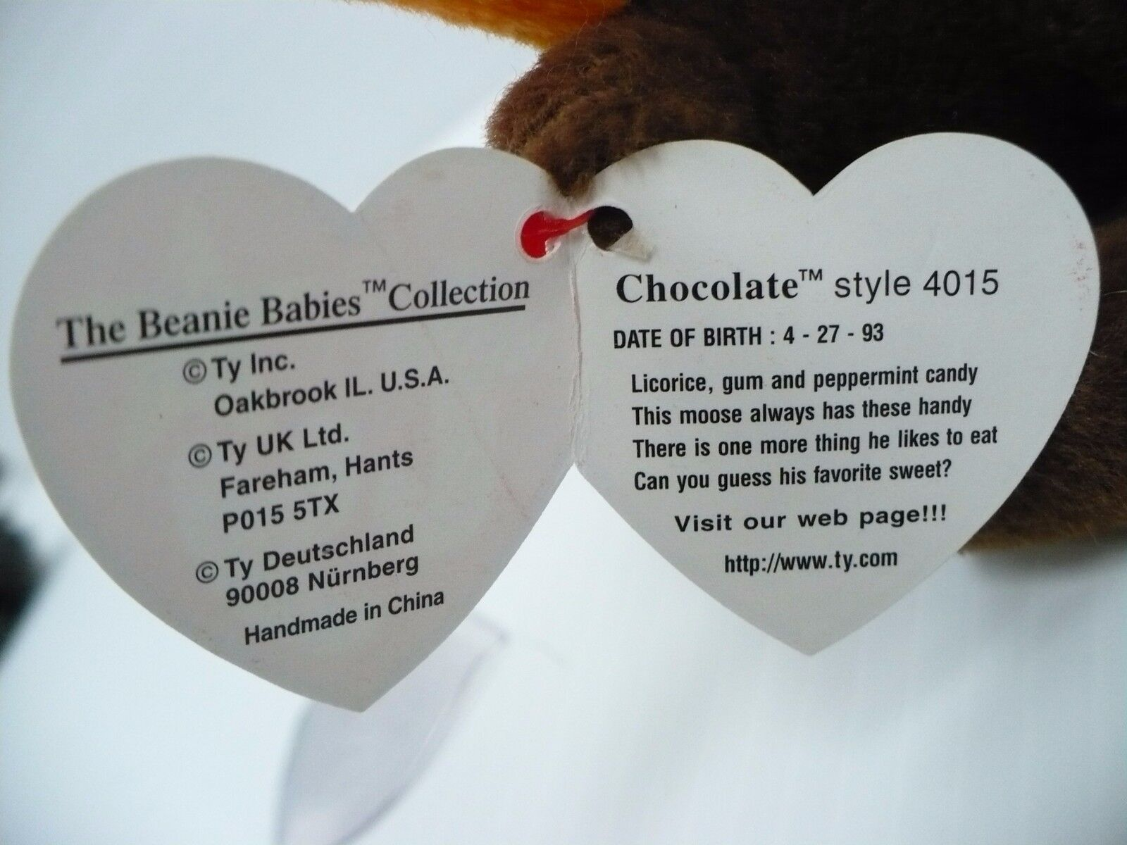 RETIRED Rare 1993 Chocolate The Moose Beanie Baby WITH ERRORS ERRORS ERRORS 9cc60a