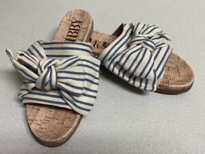 Sam & Libby Womens Sandals 6.5 Slides Blue Bow Cork Sole Shoes