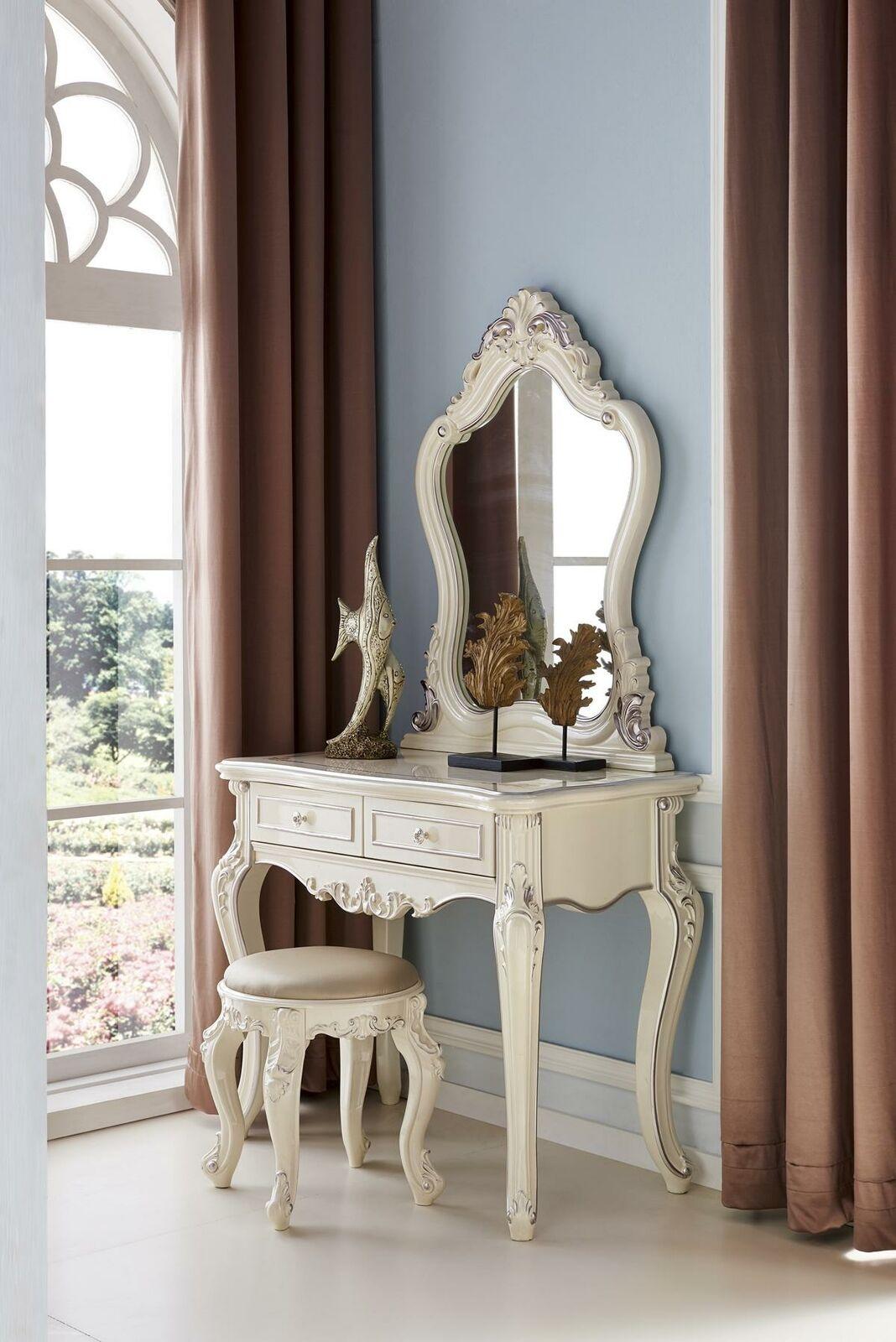 Tocador con espejo de lujo consola cómoda dormitorio barroco rococó 2tlg.
