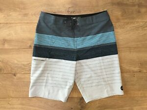 O-039-NEILL-Hyperfreak-Striped-Boardshorts-Gray-Blue-SZ-32-NEW