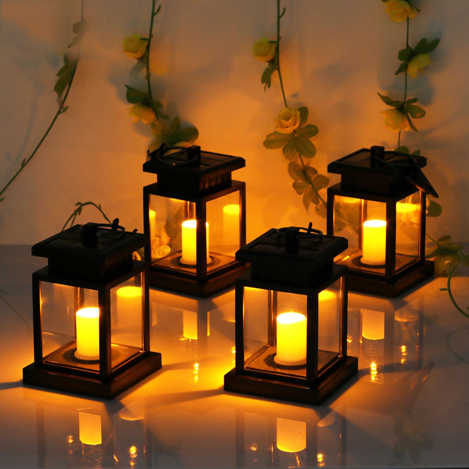2X RGB Solar Laterne Kerze Flackerlicht Außen Solarlampe Gartenleuchte Dekolampe