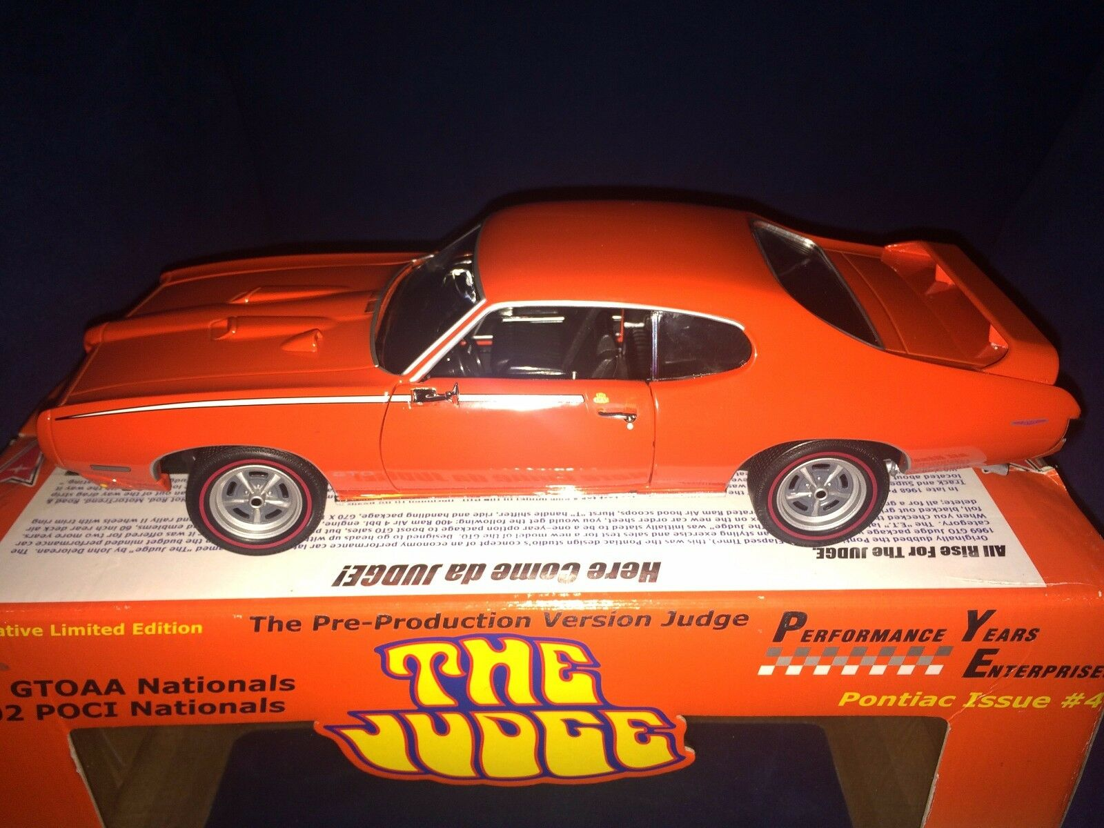 orange JUDGE GTO 1969 ERTL PRODUCTION PRE PONTIAC NATIONALS