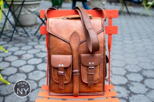 Leather Backpack Bag Men Laptop Shoulder Satchel Vintage Travel Rucksack School