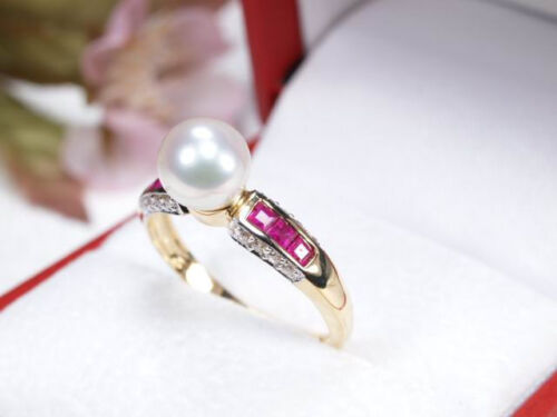 i29 Lujo akoya perla anillo con Rubí diamantes y 595//14k dorado