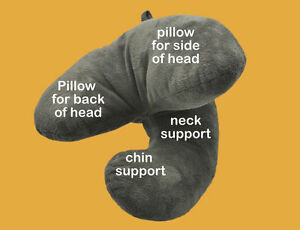 Genuine-J-Pillow-Travel-Ultimate-Head-Neck-Chin-Support-Rest-Flight-Support-GREY