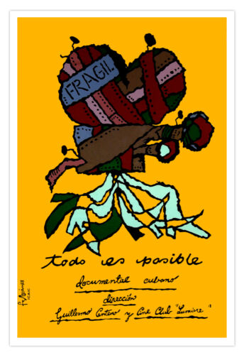 Cuban movie Poster for OLD film camera.Directors Art.Vintage.Decorative design