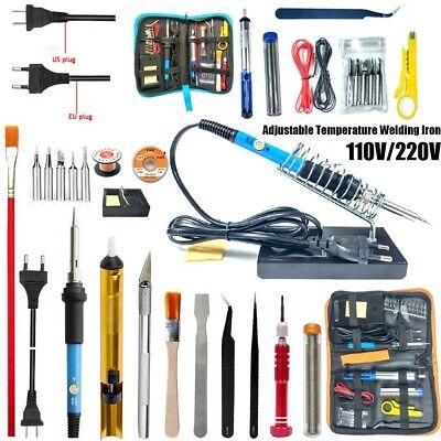 60W Electric Soldering Iron Welding Tool Kit Set w// Solder Wire Tweezer 110 220V