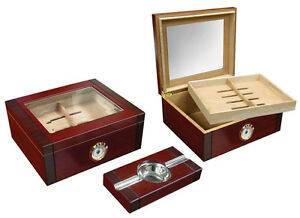Sovereign 2 Tone Cherry Rosewood Glass Top Humidor Holds 50 Count With Ashtray