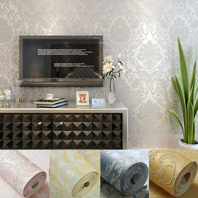 10M Fashion 3D Pink Rose Non-woven fabric on Embossed Wallpaper Roll Bedroom