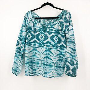 Velvet-By-Graham-amp-Spencer-Tie-Dye-Blouse-Top-Size-Small-100-Silk-Teal-White