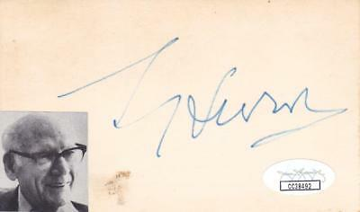 Sol Hurok D 1974 Signed 3x5 Index Card Performing Arts Manager Cc38492 Keep You Fit All The Time Autographs-original