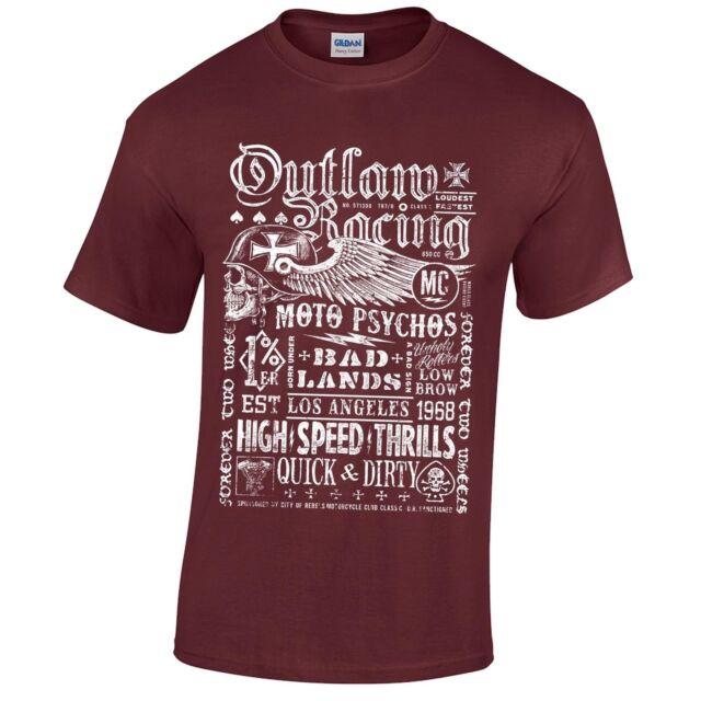 Biker Poster T-Shirt Screenprinted Distressed grunge retro motorcycle rider club