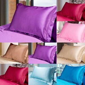 Solid-Queen-Standard-Silk-Satin-Pillows-Case-Bedding-Pillowcases-Smooth-Home-NEW