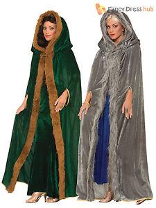 Ladies Game of Thrones Fur Trimmed Cloak Daenerys Medieval Fancy Dress Costume