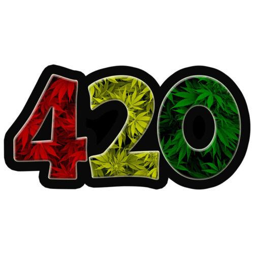 420 Cannabis Sticker Aufkleber Hanf Joint Kiffen Marihuana Rot Gelb Grün Jamaika
