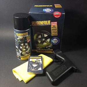 Spruehfolie-Felgenfolie-Set-4x-400ml-schwarz-glaenzend-Spruehpistole-Sprayboy