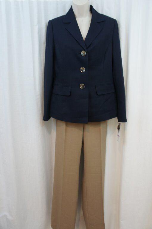 Evan Picone Pantalon Costume Sz 6 Bleu Marine Sable Beige Classique Temps Visite
