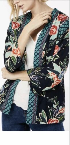 Nueva Chaqueta Kimono Monzón ROSALINE Azul Marino Floral Top S-X//L RRP £ 59