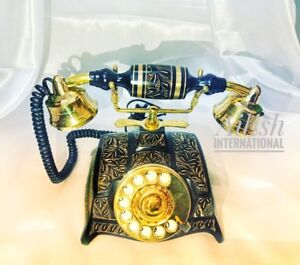 4138b5d41 BRASS FRENCH KING STYLE ROTARY DIAL VINTAGE TELEPHONE MADE IN INDIA ...
