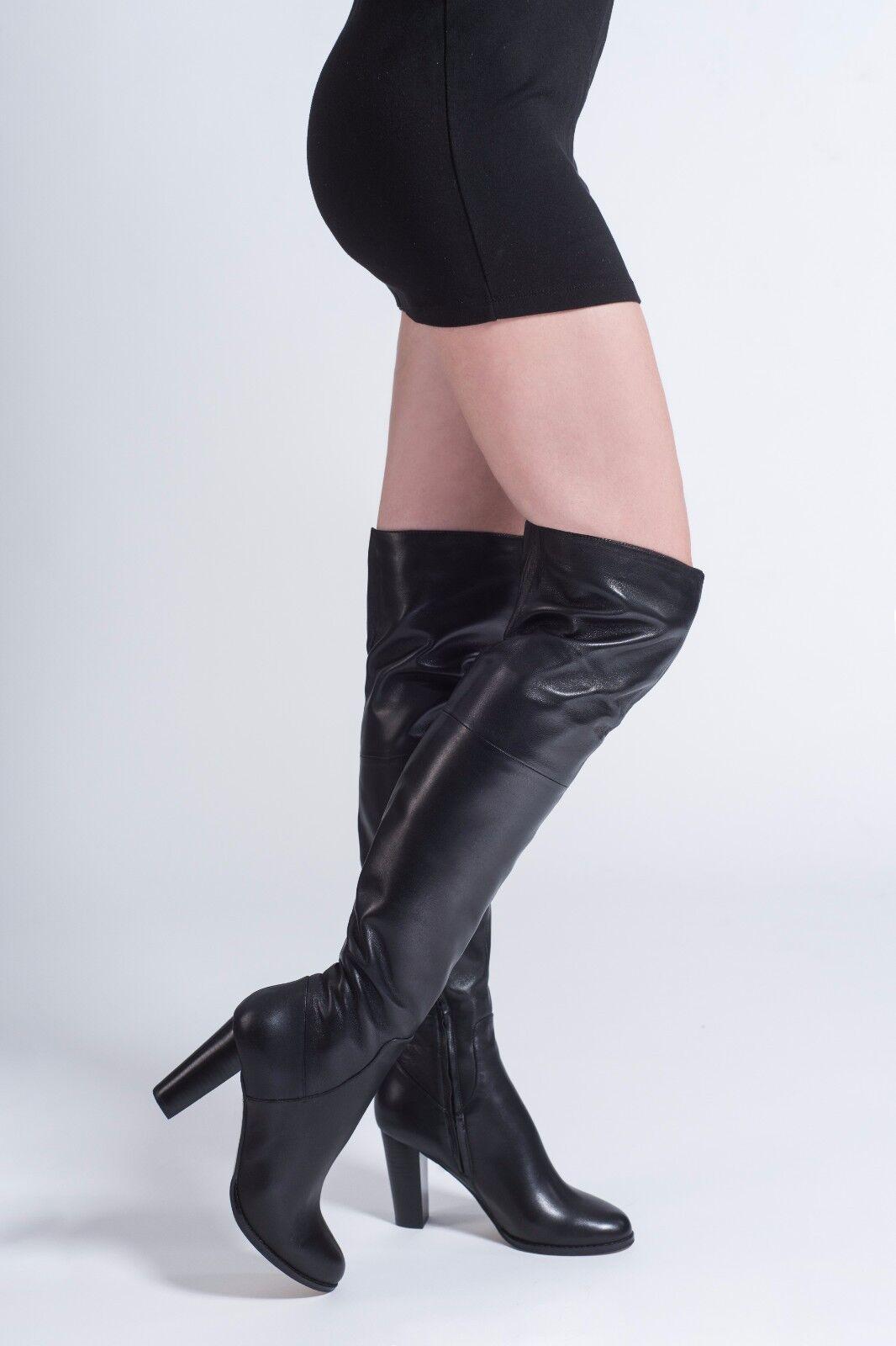 NEU NEU NEU   AROLLO echt Leder Niedrig Heel Overknee Stiefel Victoria Gr. 37,38,39,40,41,42 0f2556