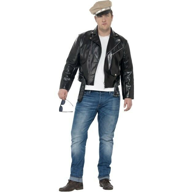 Plus Size Mens 50s Rebel Fancy Dress Costume 1950s Biker Jacket