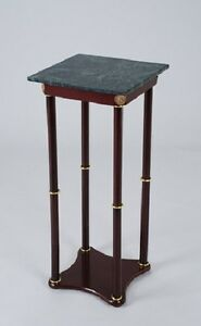 Plant Stand Side Table Green Marble Square Top And Cherry