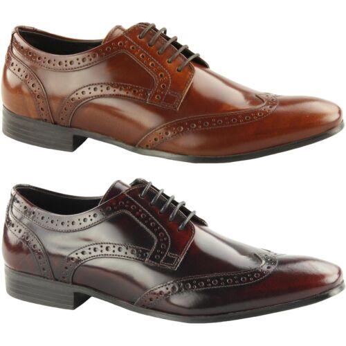 Ikon Mens Nolan Hi Shine Leather Lace Up Formal Smart Derby Brogues Shoes
