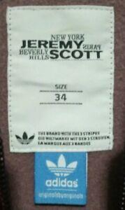 EUC ADIDAS x JEREMY SCOTT women's zipup jacket w/ruched sleeves in maroon sz 34