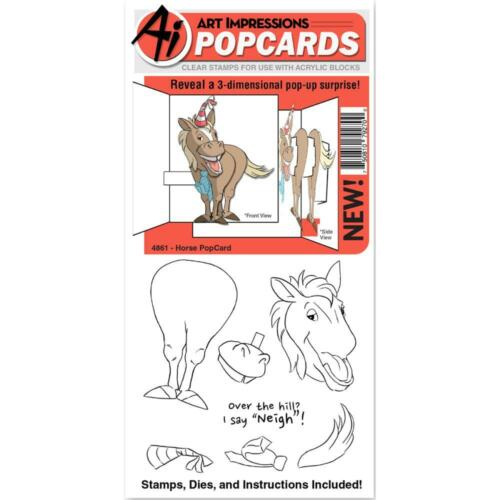 Horse POPCARDS Clear Unmounted Rubber Stamp /& Die Set ART IMPRESSIONS 4861 New