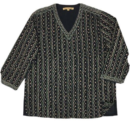 Ritu Kumar Embroiderer Beaded V Neck 3/4 Sleeve Cotton Designer Top Size M EUC