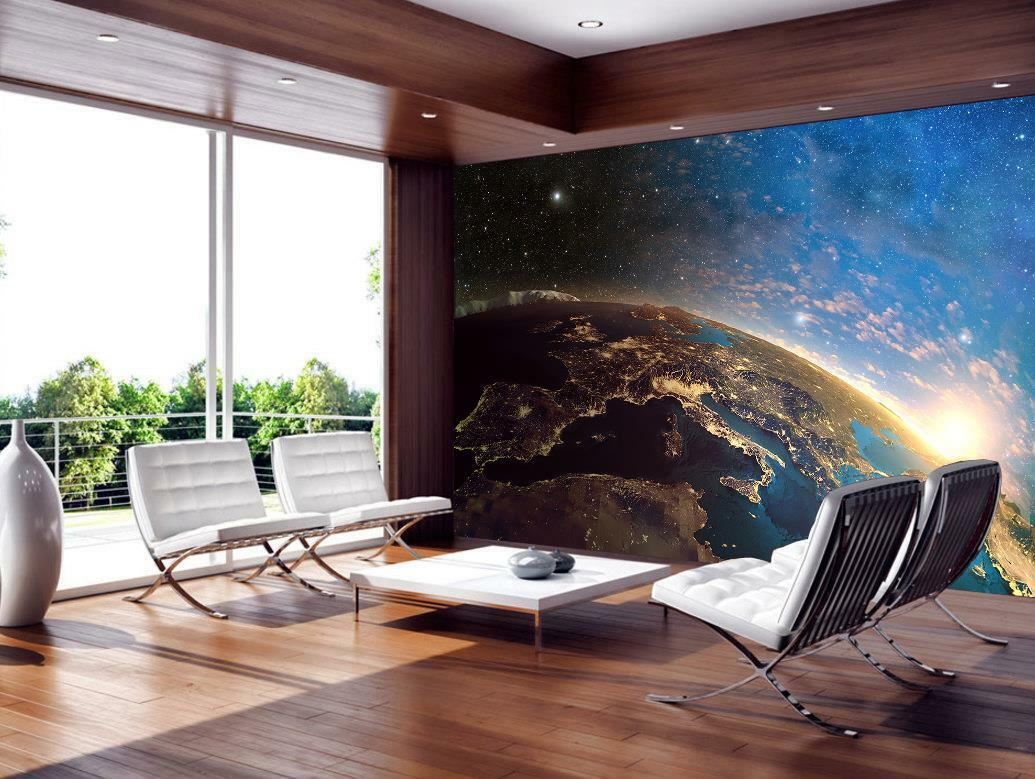Planet Earth From Space Photo Woven Wallpaper Self-Adhesive Wall Mural Art M86