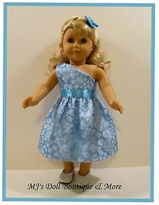 Blue-One-Shoulder-Glitter-Organdy-amp-Satin-Party-Dress-fits-American-Girl-Doll