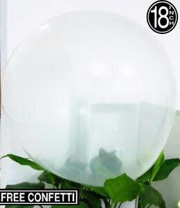 """30 clair/transparent mariage fête 18""""/45cm Grand Latex Ballons + GRATUIT CONFETTIS"""