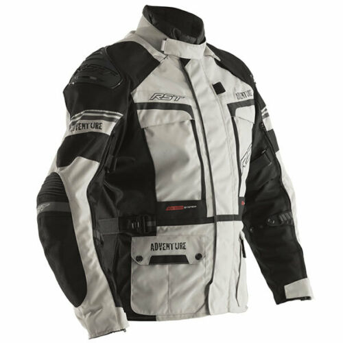 RST Motorbike Motorcycle Pro Series Adventure 3 CE Textile Jacket Silver Black