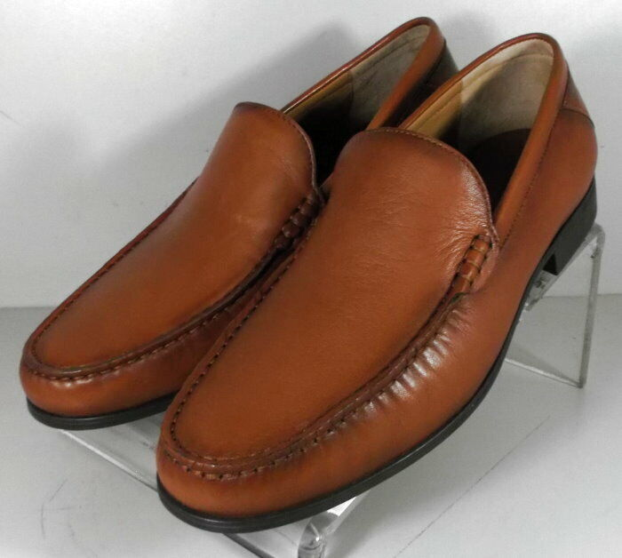 204470 SP50 Men's Shoes Size 9 M Dark Tan Leather Slip On Johnston & Murphy
