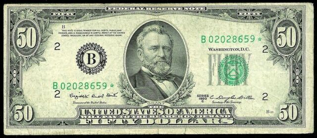 1950 C NEW YORK $50 FEDERAL RESERVE BANK STAR NOTE VF CONDITION FR# 2110-B*