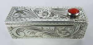 800-ITALIAN-SILVER-Hand-Chased-LIPSTICK-CASE-With-MIRROR-amp-CORAL-CABOCHON