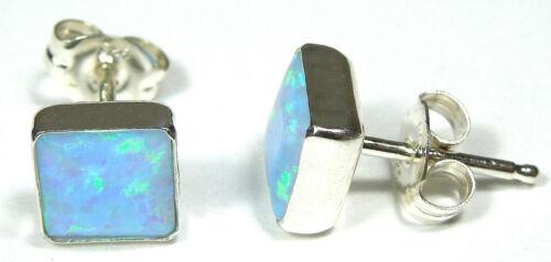 Handcrafted in USA 6mm Blue Fire Opal 925 Sterling Silver Stud Post Earrings