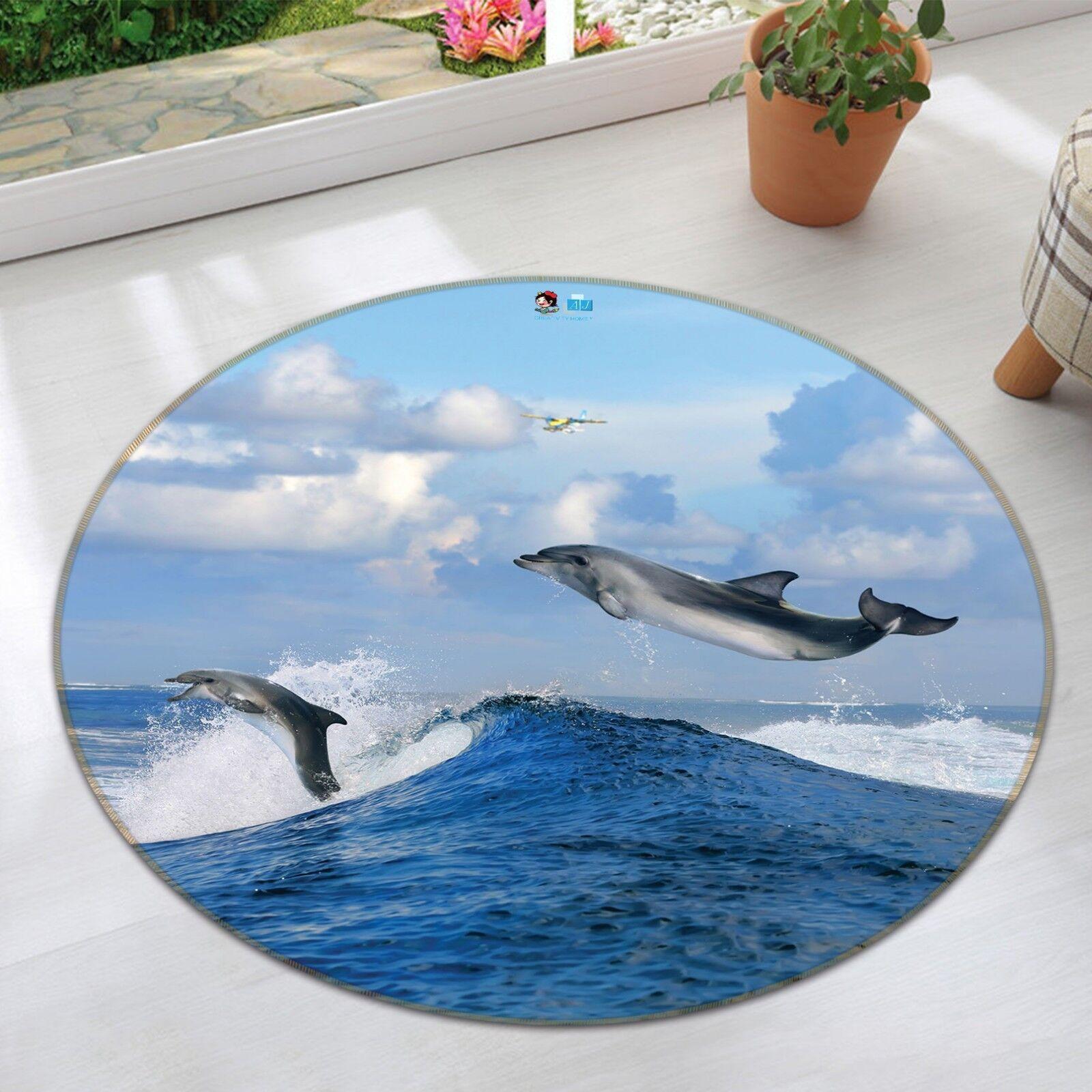 3D Airplane Dolphin 55 Non Slip Rug Mat Room Mat Round Elegant Photo Carpet AU