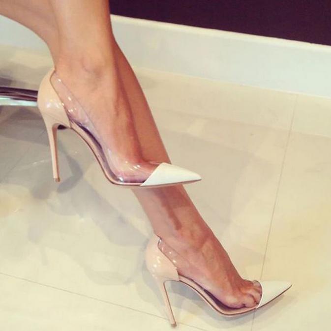 Women Pointy Toe High Stiletto Heel Sexy Wedding shoes Sandals Pumps Transparent