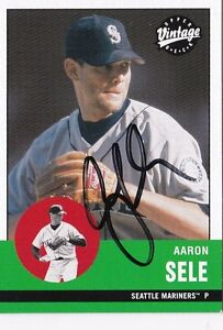 Aaron Sele Seattle Mariners 2001 UD Vintage Autographed Baseball Card W/Our COA