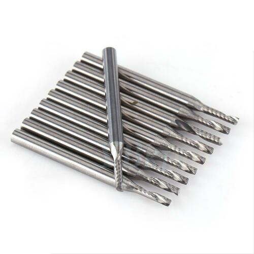 """10x 1//8/"""" 2mm Carbide Spiral Bit End Mill Cutter Set CNC Single Flute Router Bit"""