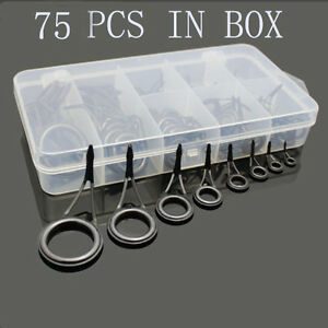 75pcs Fishing Rod Guides Top Tips Set Repair Kits Steel Eye Rings Plastic Box