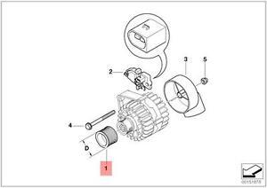 genuine bmw e39 e46 e53 e60 e61 e65 e66 e83 alternator pulley lever diagram  e46 pulley diagram