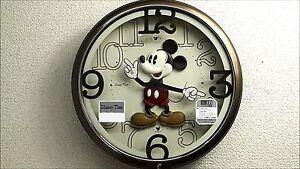 Seiko Disney Mickey Mouse Wall Clock Brown Metallic F S